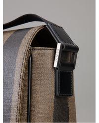 Fendi Brown Striped Messenger Bag for men