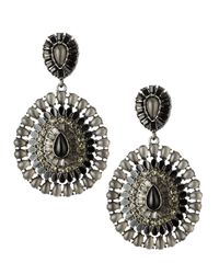 Fragments - Black Jet Circlestone Large Earrings - Lyst