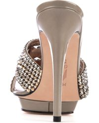 Gina Metallic Dido Swarovskiembellished Patent Leather Sandals