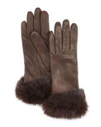 Grandoe - Brown Fur Cuff Sheepskin Gloves - Lyst