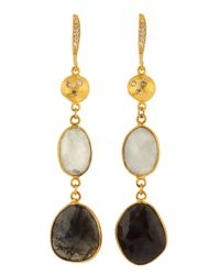 Indulgems - Black Rainbow and Moonstone Labradorite Earrings - Lyst