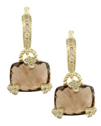 Judith Ripka Metallic Pave Smoky Quartz Earrings