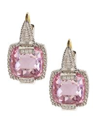 Judith Ripka | Metallic Crystal Cushion Cut Earrings | Lyst