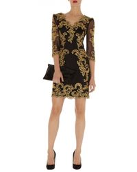 Karen Millen | Black Baroque Mesh Dress | Lyst