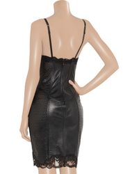 la perla lacetrimmed perforated leather corset dress in