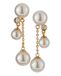 Majorica | White Double Drop Pearl Earrings  | Lyst