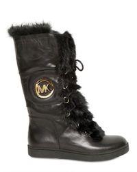 MICHAEL Michael Kors Black 20mm Fulton Leather Rabbit Fur Boots