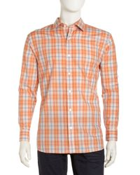 Michael Kors - Orange Flanders Plaid Shirt for Men - Lyst