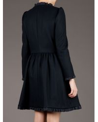 Red Valentino | Black Cinched Waist Coat | Lyst