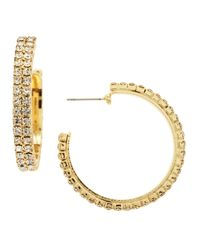 R.j. Graziano | Metallic Rhinestone Hoop Earrings | Lyst