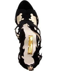 Rupert Sanderson Black Floria Suede Caged Sandals