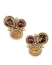 Stephen Dweck | Multicolor Garnet-Smoky Quartz Clip Earrings | Lyst