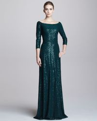 David Meister Green Sequined Bateauneck Gown