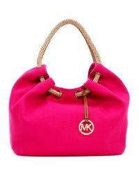 MICHAEL Michael Kors - Pink Large Marina Canvas Shoulder Tote Bag - Lyst