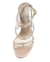 Stuart Weitzman Natural Crystal Strappy Sandal Beige