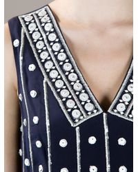 Tory Burch Blue Clayton Embellished Top