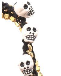 Venessa Arizaga Black Fools Gold Skull Charm Bracelet