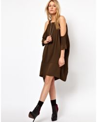 ASOS Collection - Green Swing Dress with Strap Cold Shoulder - Lyst