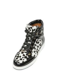 Jimmy Choo Black Tokyo Patent Ponyskin Sneakers