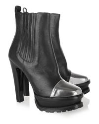 Etro | Black Cap-toe Leather Ankle Boots | Lyst