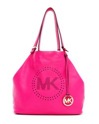 MICHAEL Michael Kors Pink Large Perforated Logo Grab Bag