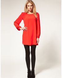 ASOS Collection - Green Asos Petite Exclusive Shift Dress with Bell Sleeves and Cut Out Back - Lyst