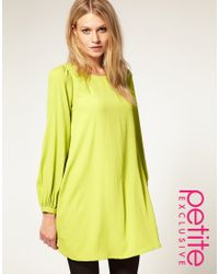 ASOS Collection | Green Asos Petite Exclusive Shift Dress with Bell Sleeves and Cut Out Back | Lyst