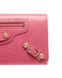 Balenciaga | Pink Money Leather Long Wallet | Lyst