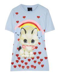 Meadham Kirchhoff - Blue Kitty Printed Cotton T-Shirt - Lyst