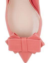 Miu Miu - Pink Bow-embellished Leather Pumps - Lyst