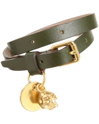 Alexander McQueen - Green Leather Belt Bracelet with Skull Charm for Men - Lyst