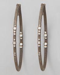 Armenta Brown Mini Scattered Diamond Hoop Earrings