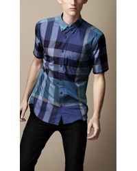 Burberry Brit Blue Tonal Check Cotton Shirt for men