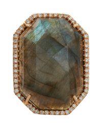 Irene Neuwirth Metallic Diamond Labradorite Hexagon Ring