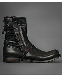 John Varvatos Gray Engineer Laced Gusset Boot for men
