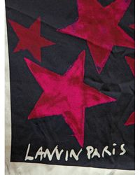 Lanvin Purple Star Print Satin Scarf