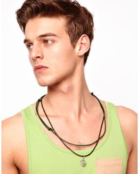 ASOS - Metallic Asos Peace Double Thong Necklace for Men - Lyst