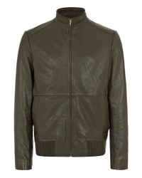 Reiss | Green Rodeo Rib Detail Zip Through Leather for Men | Lyst