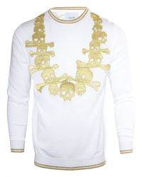 Sibling Embroided Skull Necklace Crew White for men
