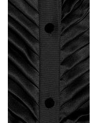 Alexander Wang Black Pleated Silk Satin and Chiffon Gown
