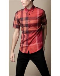 Burberry Brit Red Exploded Check Cotton Shirt for men