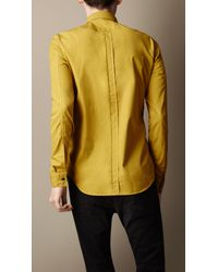 Burberry Brit Yellow Cotton Poplin Military Shirt for men