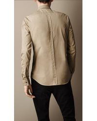 Burberry Brown Cotton Poplin Military Shirt for men
