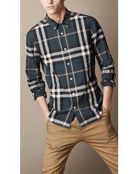 Burberry Blue Check Cotton Linen Shirt for men