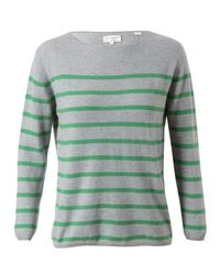 Chinti & Parker Green Striped Cashmere Jumper