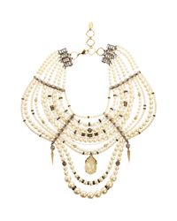 Erickson Beamon White Pearl Crystal Large Girly Queen Bib Necklace