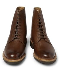 Grenson | Brown Hadley Pebble Grain Leather Boots for Men | Lyst