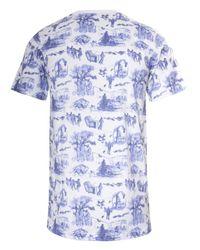 Sibling Toile De Jouy Print Tshirt Bluewhite for men