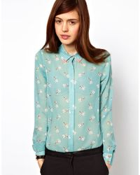 ASOS Collection Blue Shirt in I Heart Pug Print