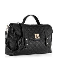 DKNY Black Quilted Leather Messenger Bag